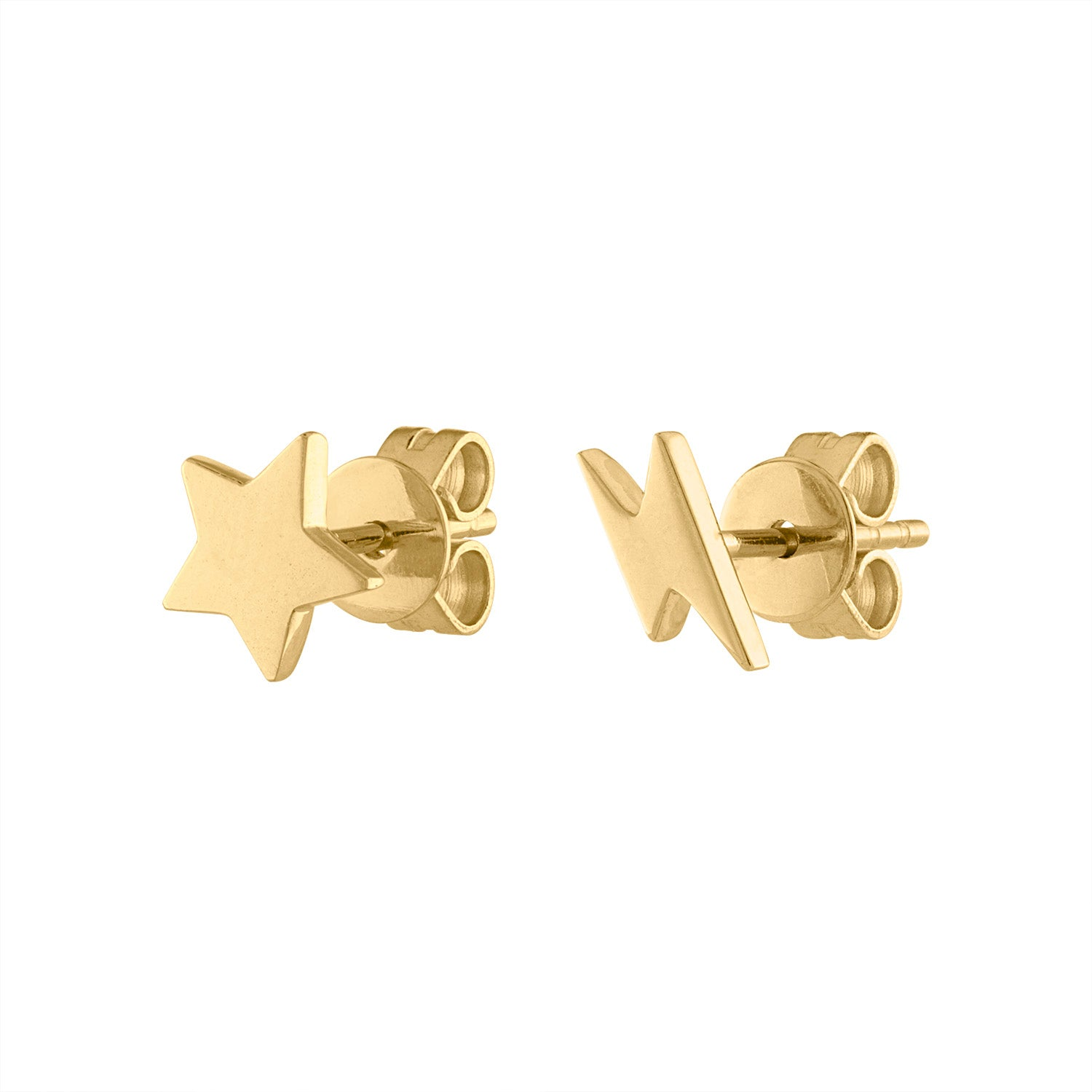 14KT GOLD STAR AND LIGHTENING BOLT EARRING
