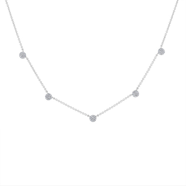14k White Gold diamond five pave disk necklace
