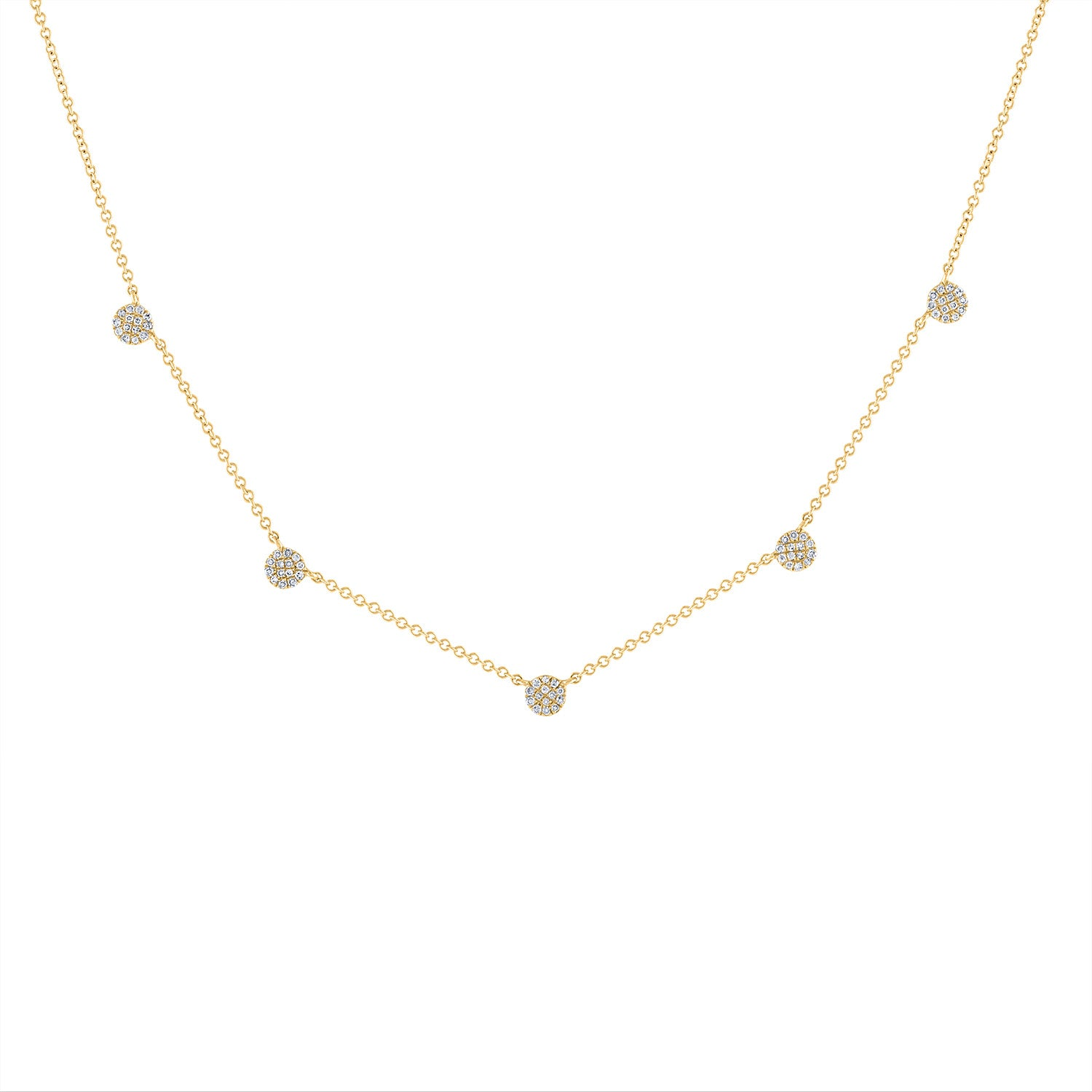 14k Yellow Gold diamond five pave disk necklace
