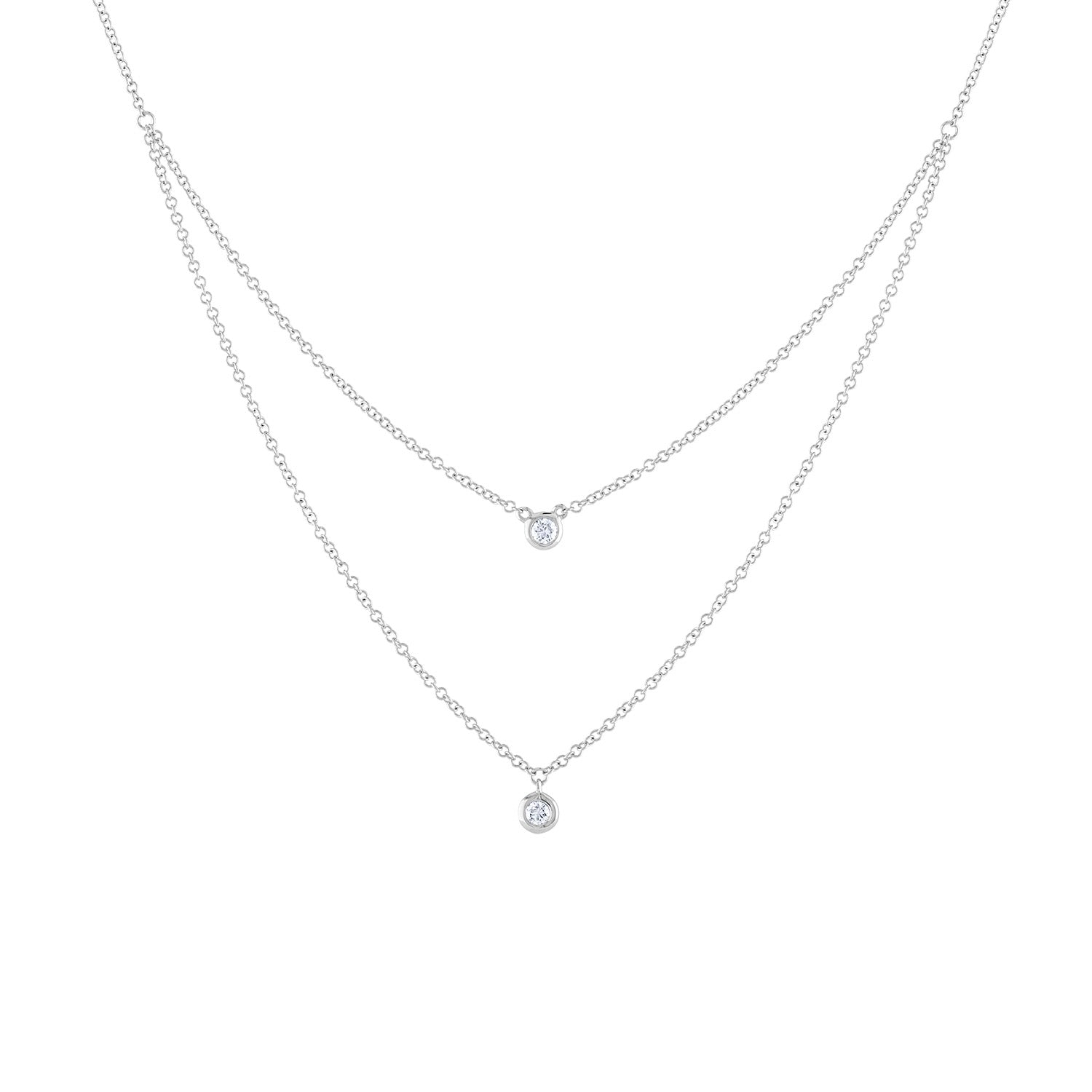 14k White Gold diamond double bezel necklace