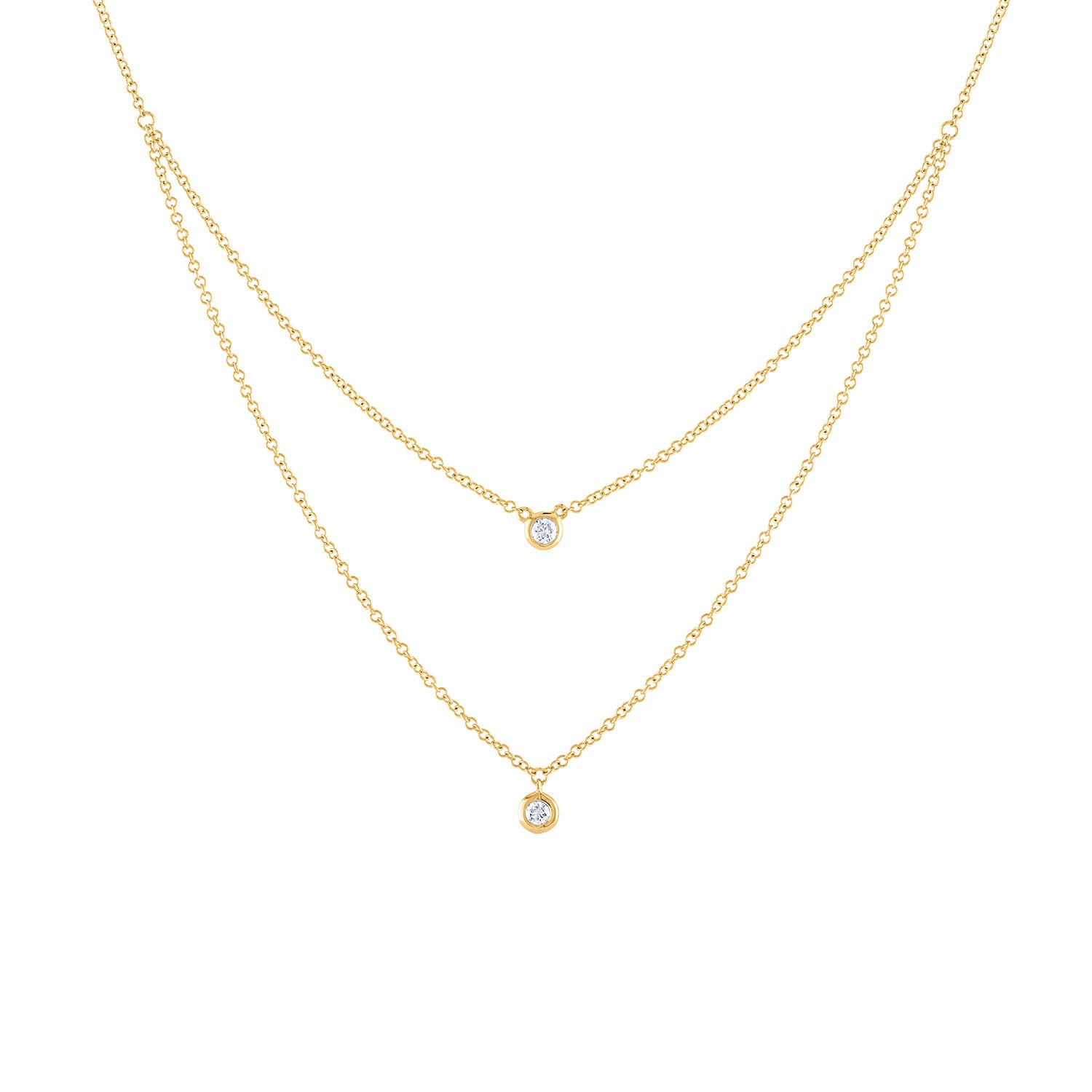 14k Yellow Gold diamond double bezel necklace