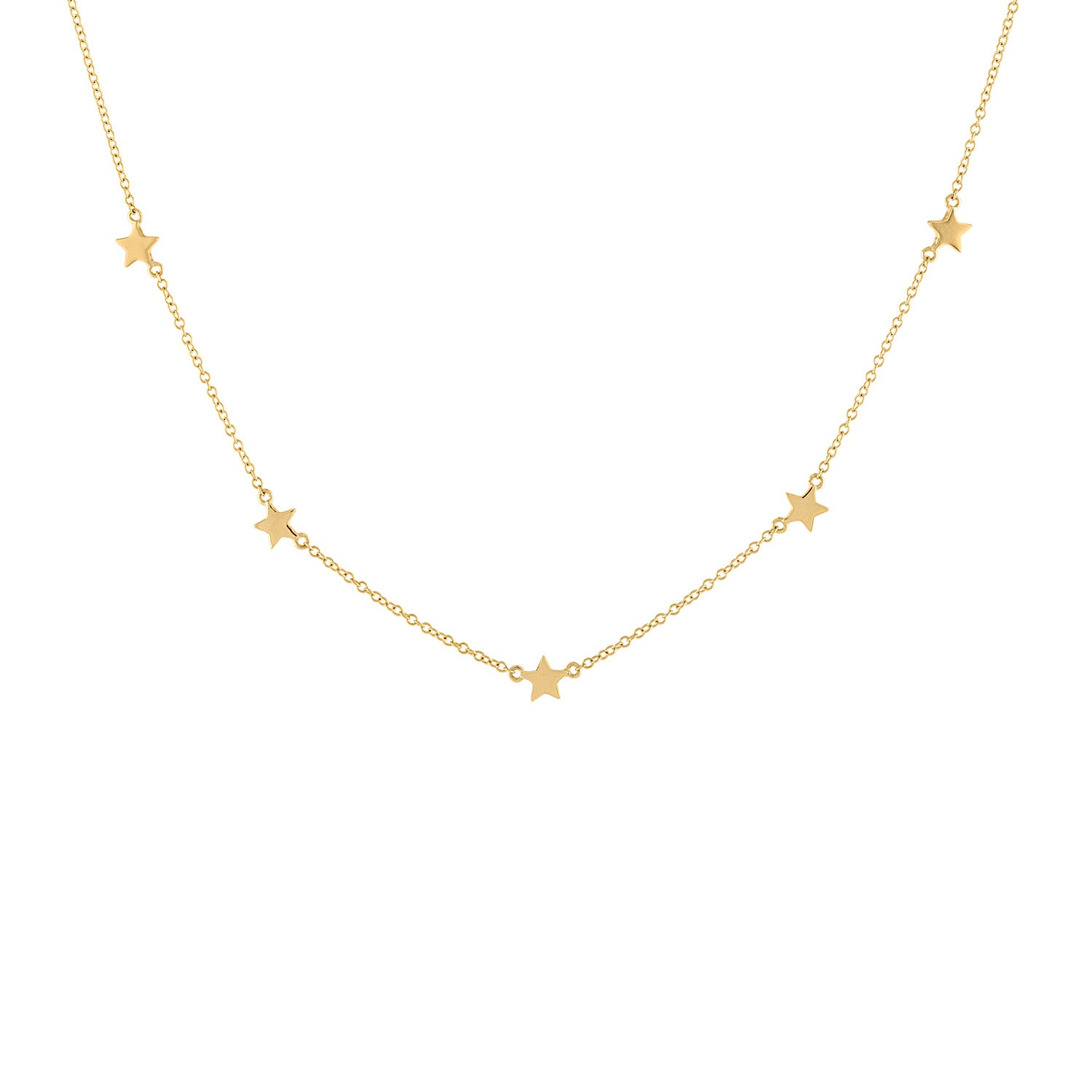 14k Yellow Gold plain star necklace