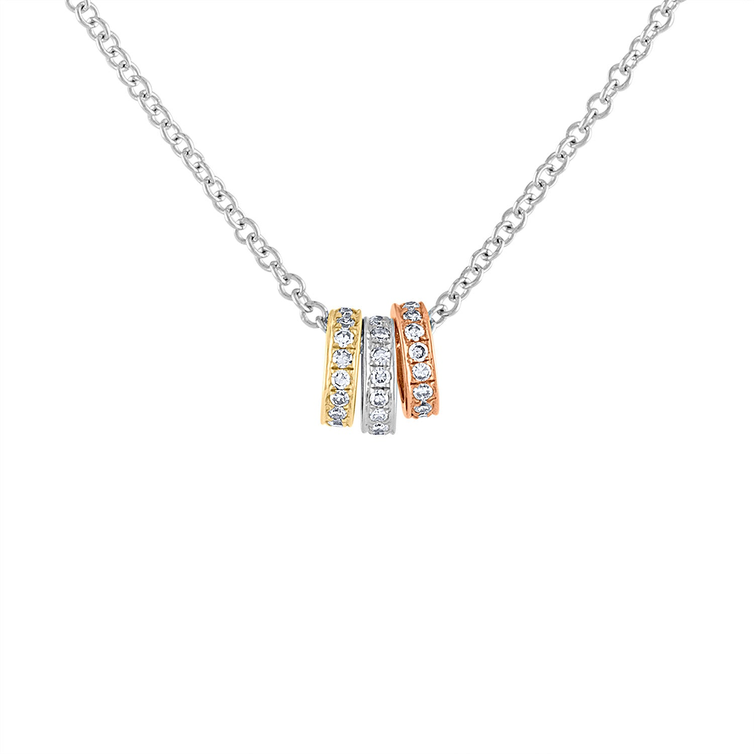14KT GOLD TRICOLOR DIAMOND ROLLING CIRCLES NECKLACE