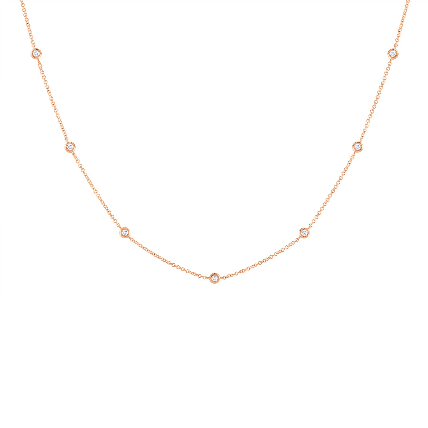14k Rose Gold diamond bezel by the yard necklace