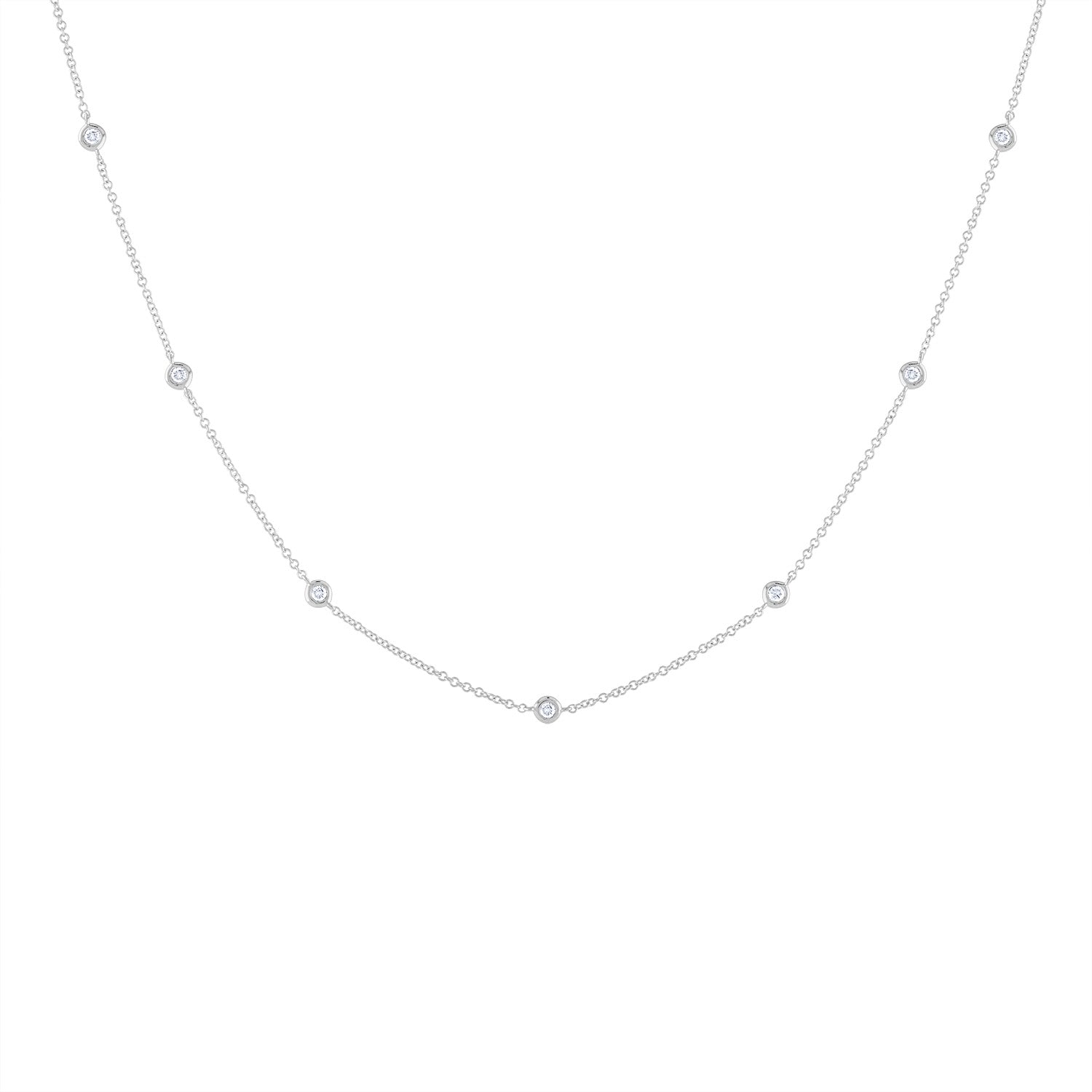 14k White Gold diamond bezel by the yard necklace