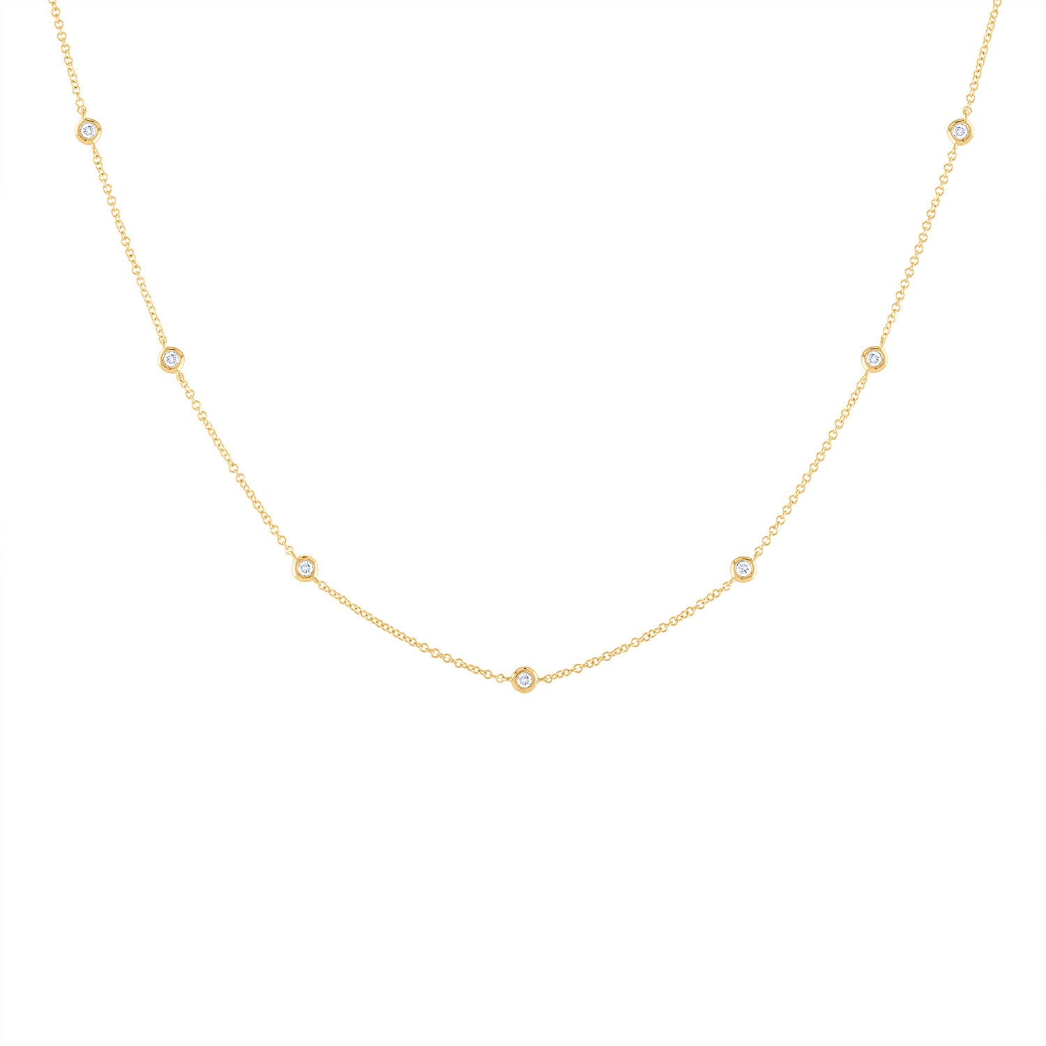 14k Yellow Gold diamond bezel by the yard necklace