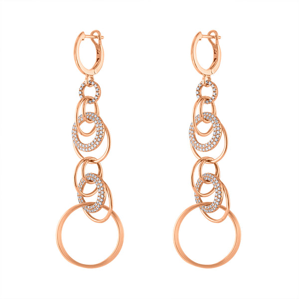 14KT GOLD DIAMOND INTERLOCKING CIRCLES HUGGIE EARRING