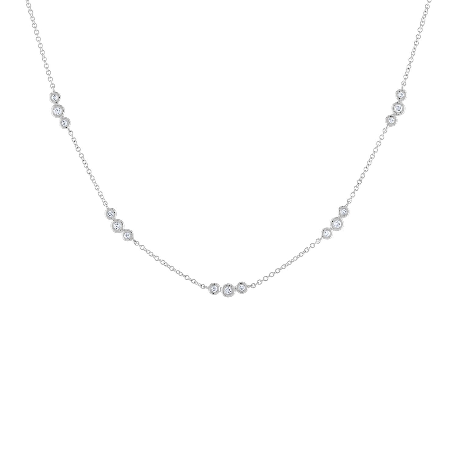 14k White Gold diamond sets of 3 bezel necklace