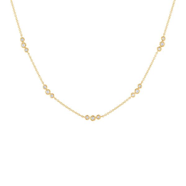 14k Yellow Gold diamond sets of 3 bezel necklace