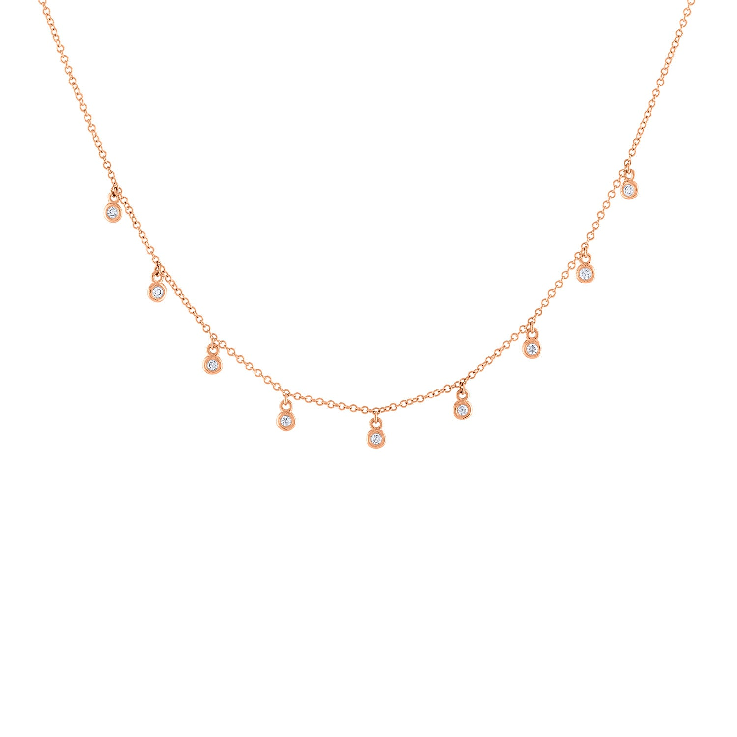 14k Rose Gold diamond mini bezel necklace