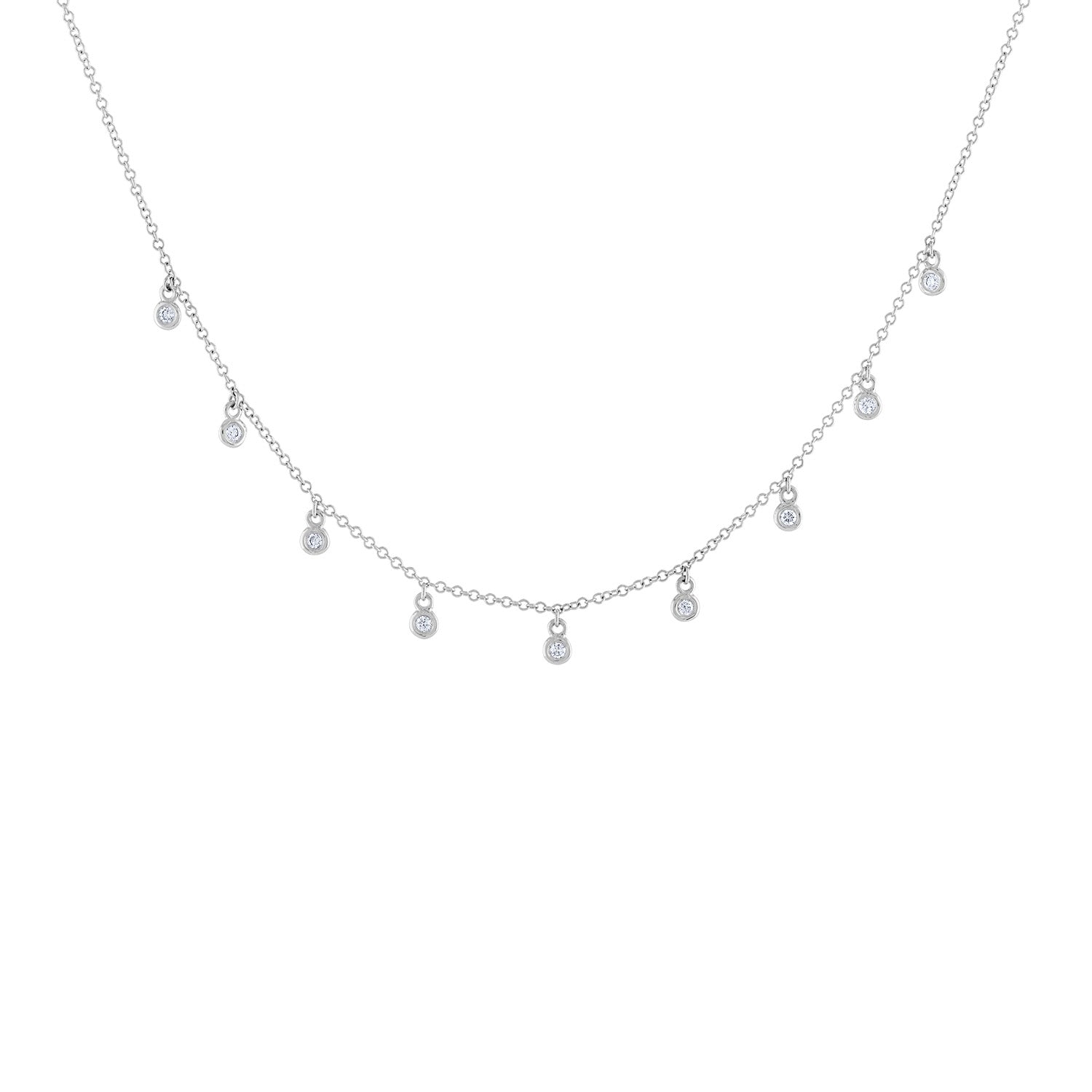 14k White Gold diamond mini bezel necklace