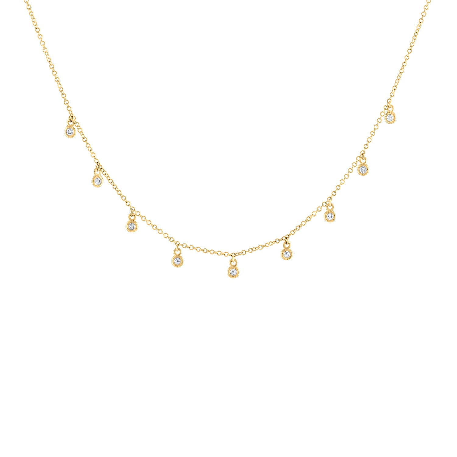 14k Yellow Gold diamond mini bezel necklace