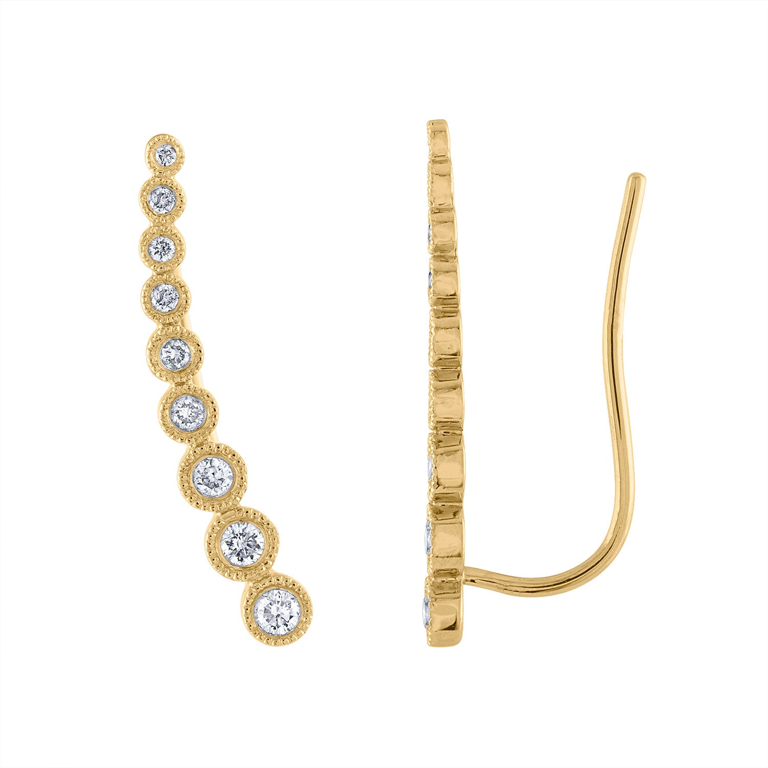 14KT GOLD ASCENDING DIAMOND BEZEL CLIMBER EARRING
