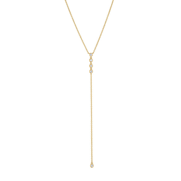 "14k Yellow Gold diamond four bezel drop ""Y"" necklace"