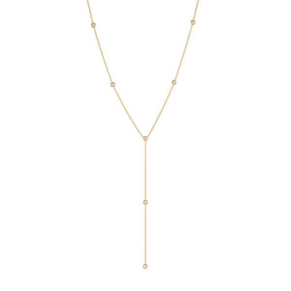 "14k Yellow Gold diamond seven bezel ""Y"" necklace"