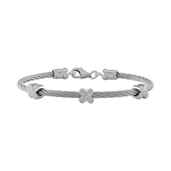 "14k White Stainless Steel  diamond  ""X"" rope bangle"