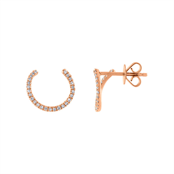 14KT GOLD DIAMOND HALF TWIST CIRCLE EARRING