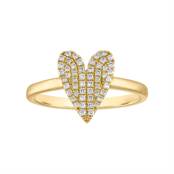 14KT GOLD DIAMOND ELONGATED HEART RING
