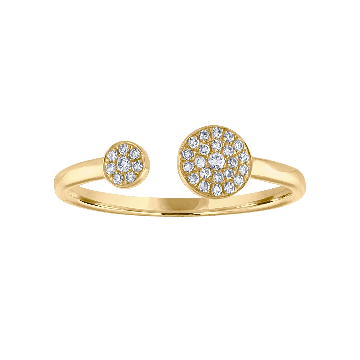 14KT GOLD DOUBLE DIAMOND DISK CUFF RING