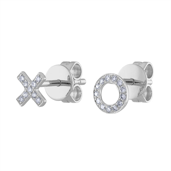 "14K White Gold diamond ""X and O"" earring"