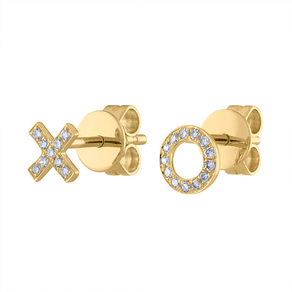 "14K Yellow Gold diamond ""X and O"" earring"