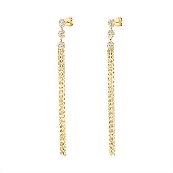 14KT GOLD PAVE DIAMOND DISK AND CHAIN EARRING