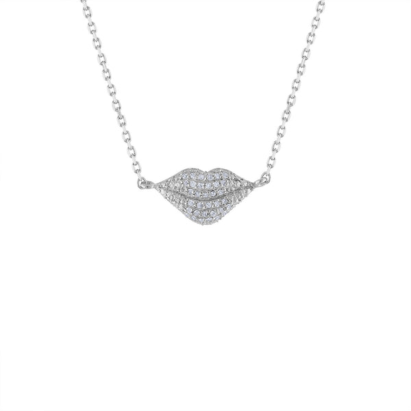 STERLING SILVER DIAMOND LIPS NECKLACE