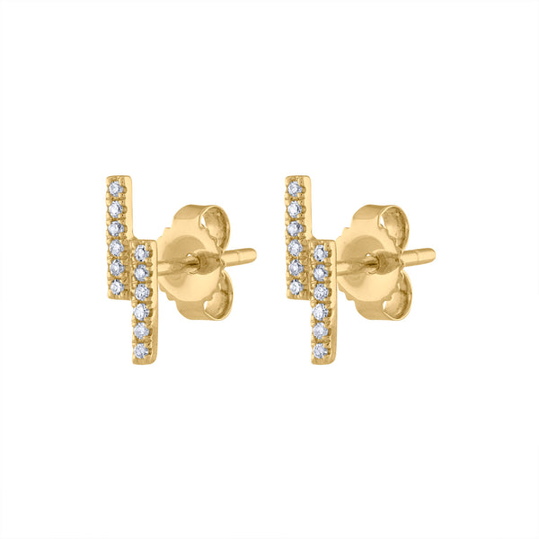 14KT GOLD DIAMOND TWO LINE EARRING