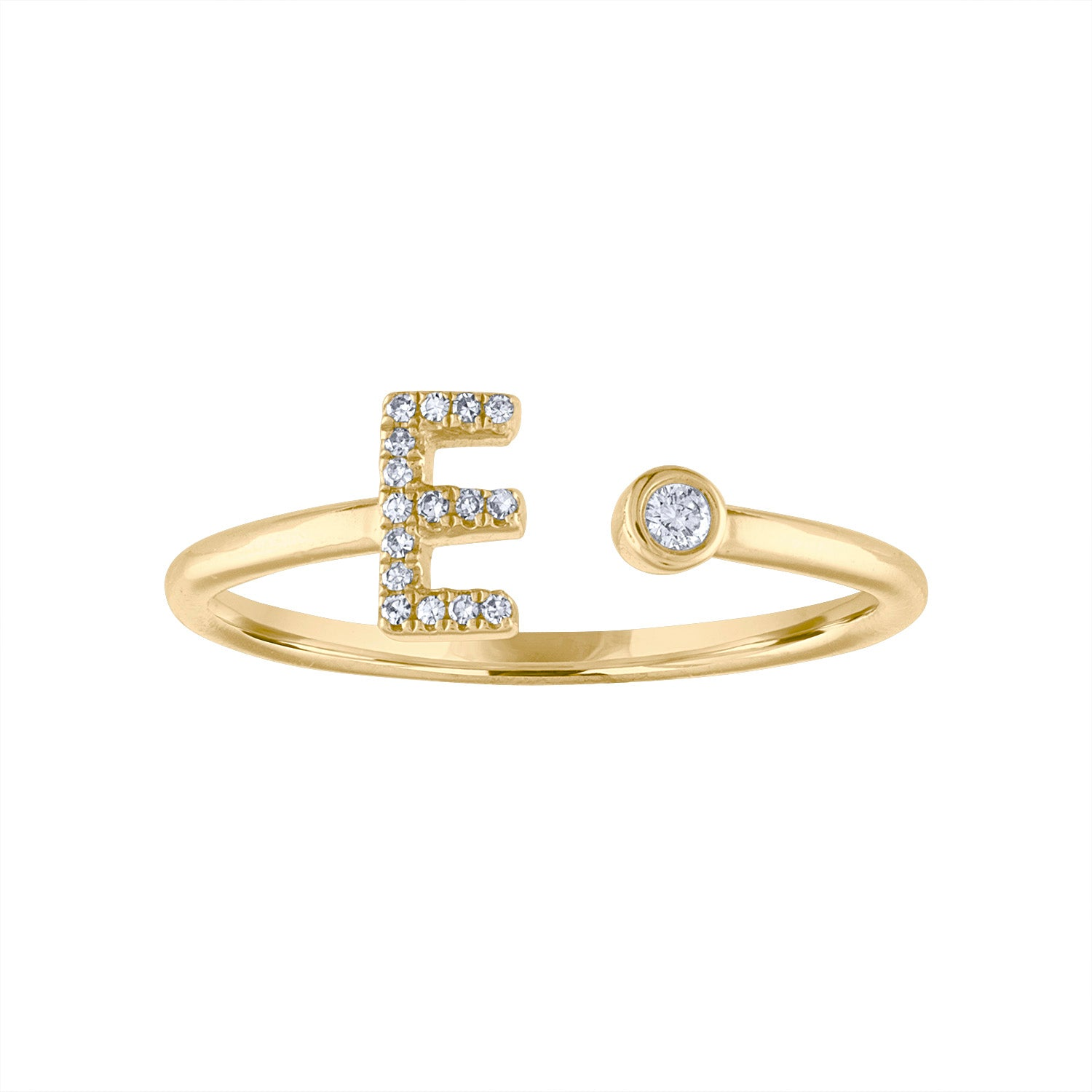 14KT GOLD DIAMOND INITIAL & BEZEL SET CUFF RING