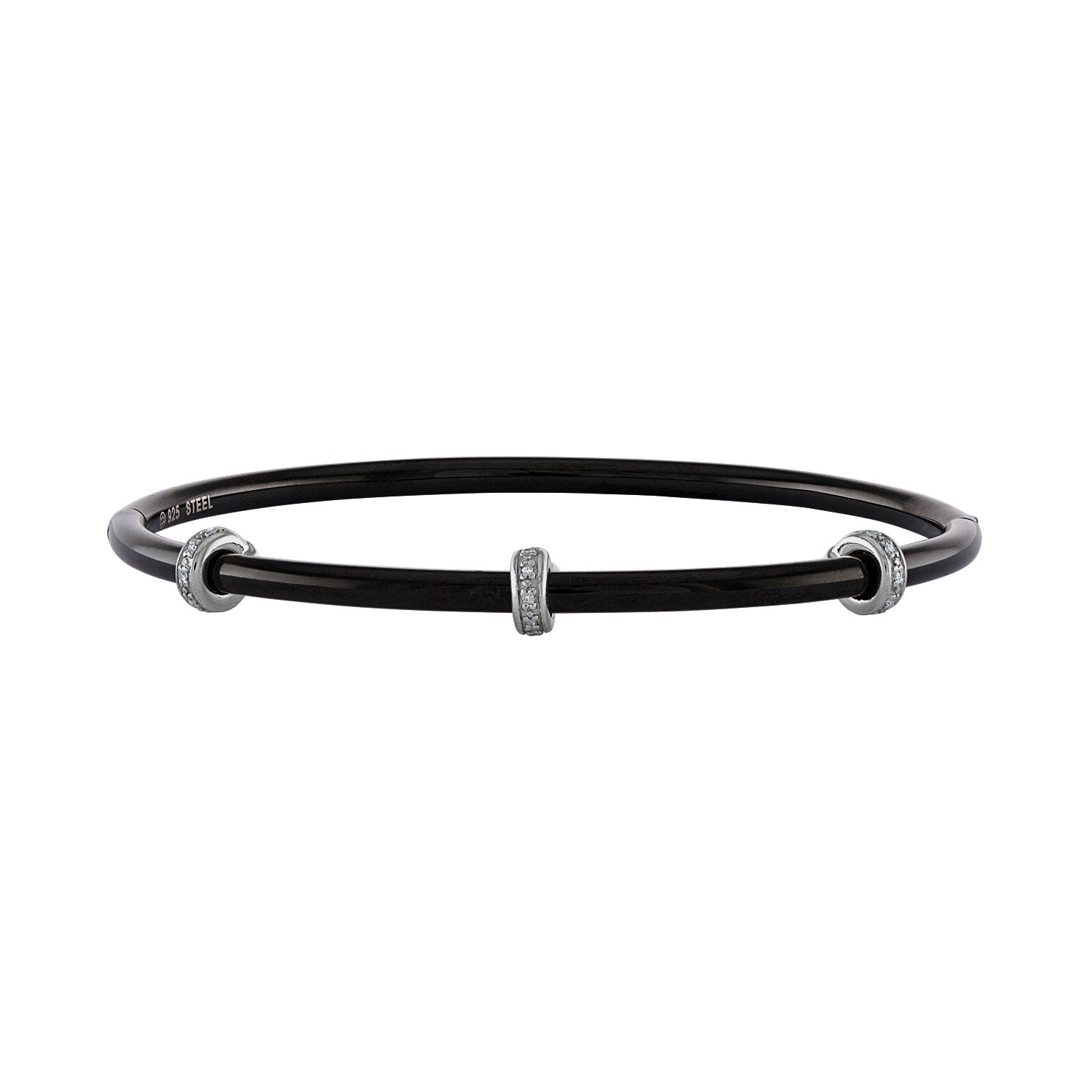 14k Black Stainless Steel  diamond  rondelle bangle