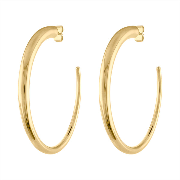 14KT GOLD LARGE TAPERED HOOP POST EARRING