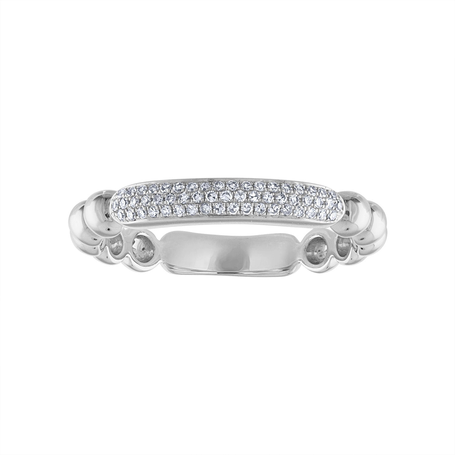 14KT GOLD PAVE DIAMOND BAR BEAD RING