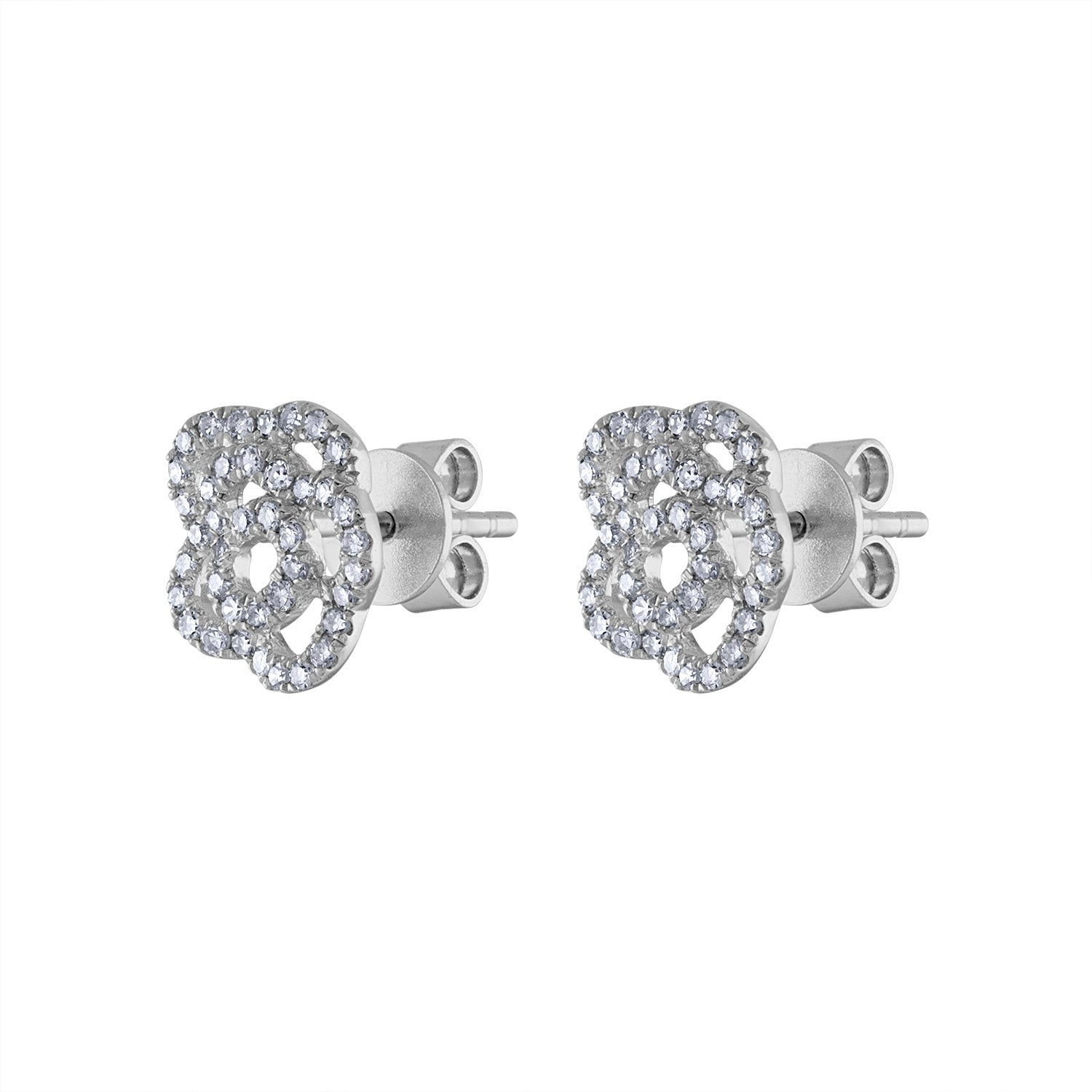 14KT GOLD DIAMOND OUTLINE FLOWER EARRING