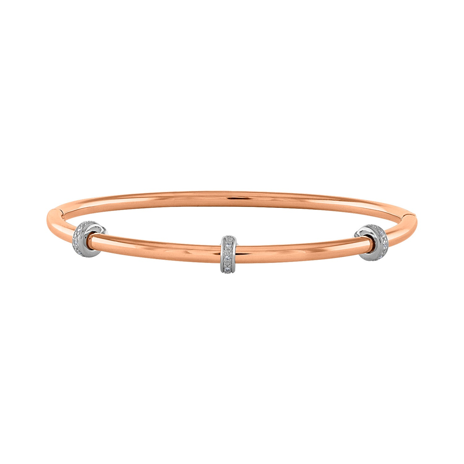 14k Rose Stainless Steel diamond  rondelle bangle