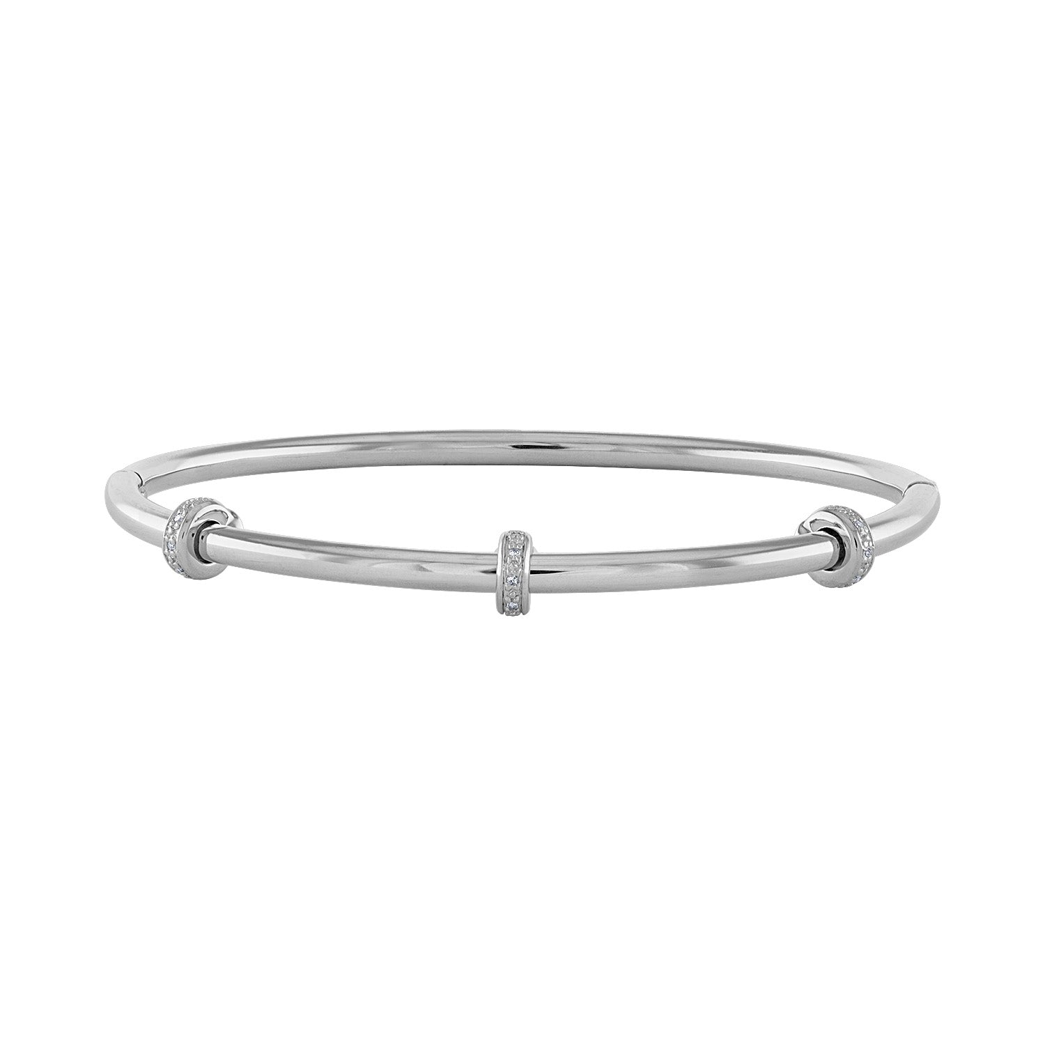 14k White Stainless Steel diamond  rondelle bangle