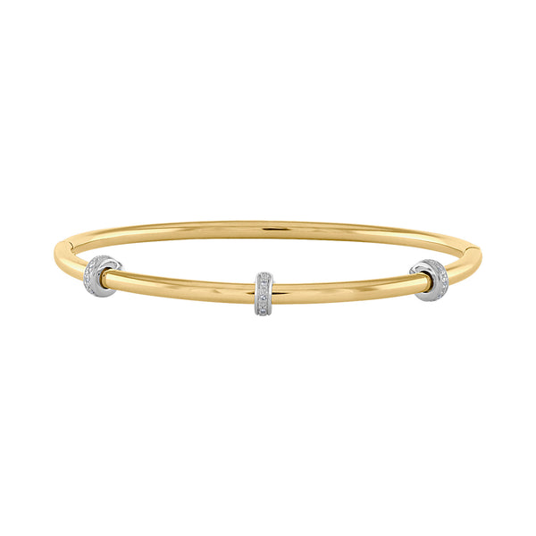 14k Yellow Stainless Steel diamond  rondelle bangle