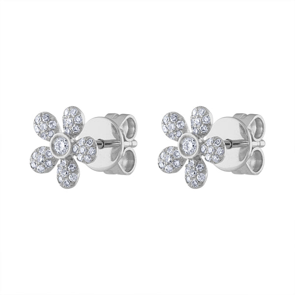 14K White Gold daisy diamond post earring