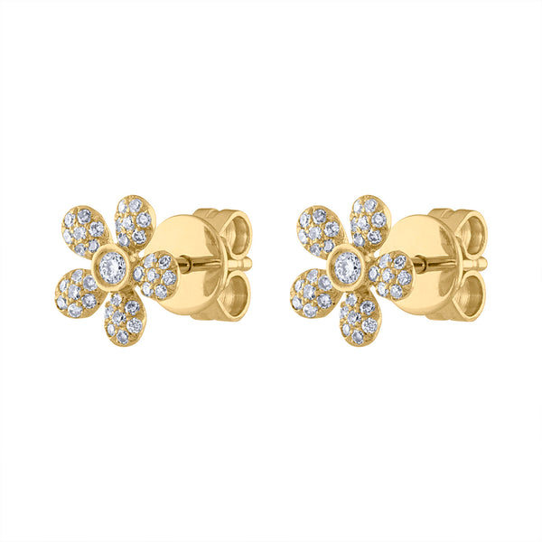 14K Yellow Gold daisy diamond post earring