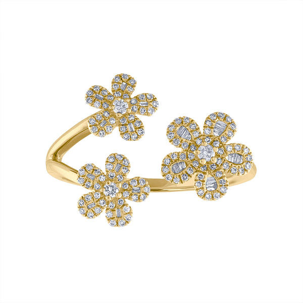 14KT GOLD DIAMOND TRIPLE FLOWER CUFF RING