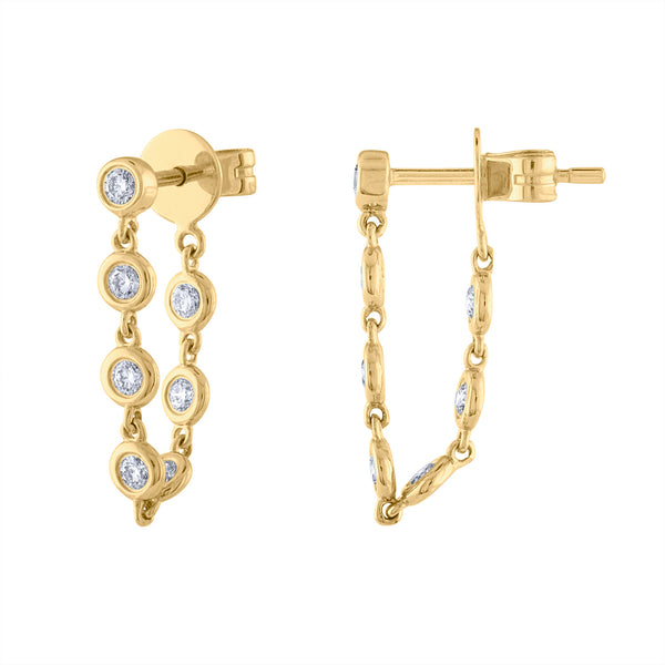 14K Yellow Gold many bezel diamond post earring