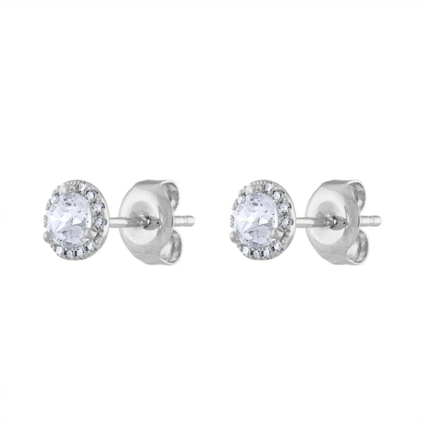 14K White Gold diamond white quartz martini stud earring