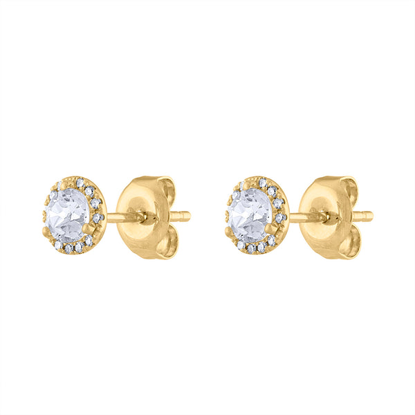 14K Yellow Gold diamond white quartz martini stud earring