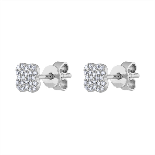 14K White Gold small pave clover earring