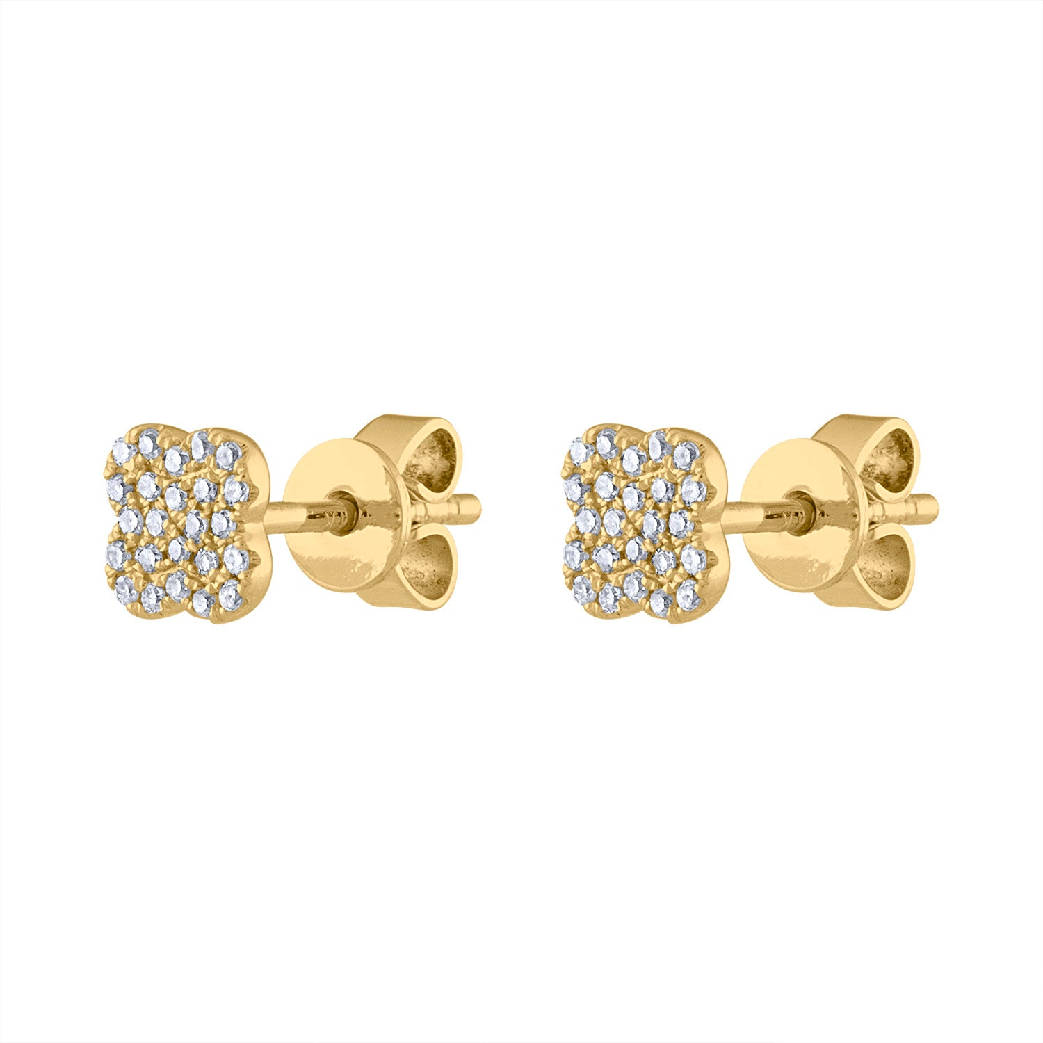 14K Yellow Gold small pave clover earring