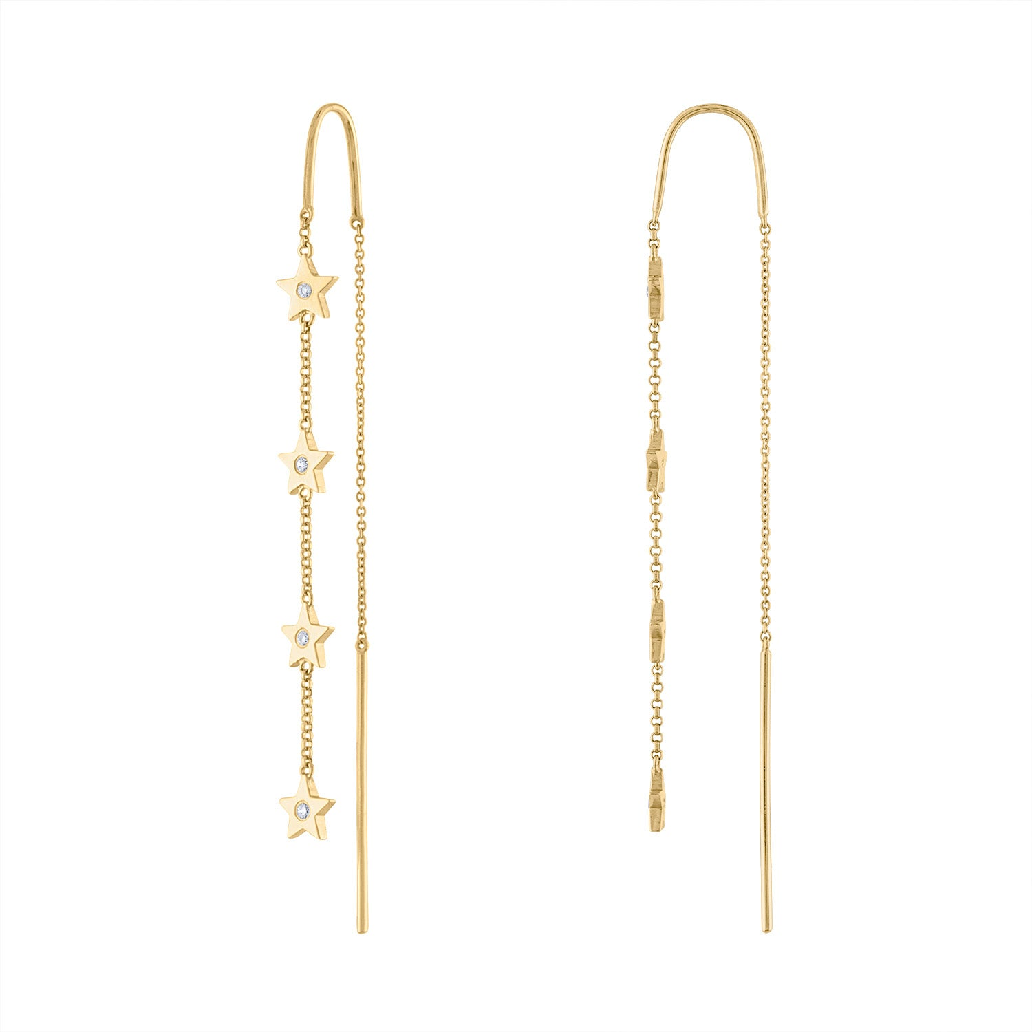 14K Yellow Gold diamond star threader earring