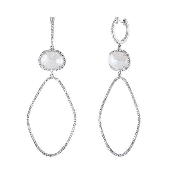 14k White Gold diamond pearl earring