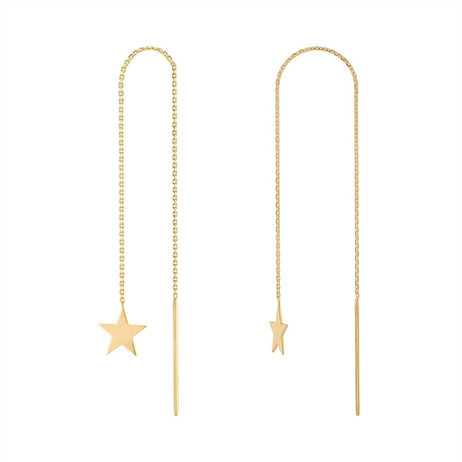 14K Yellow Gold star threader earring