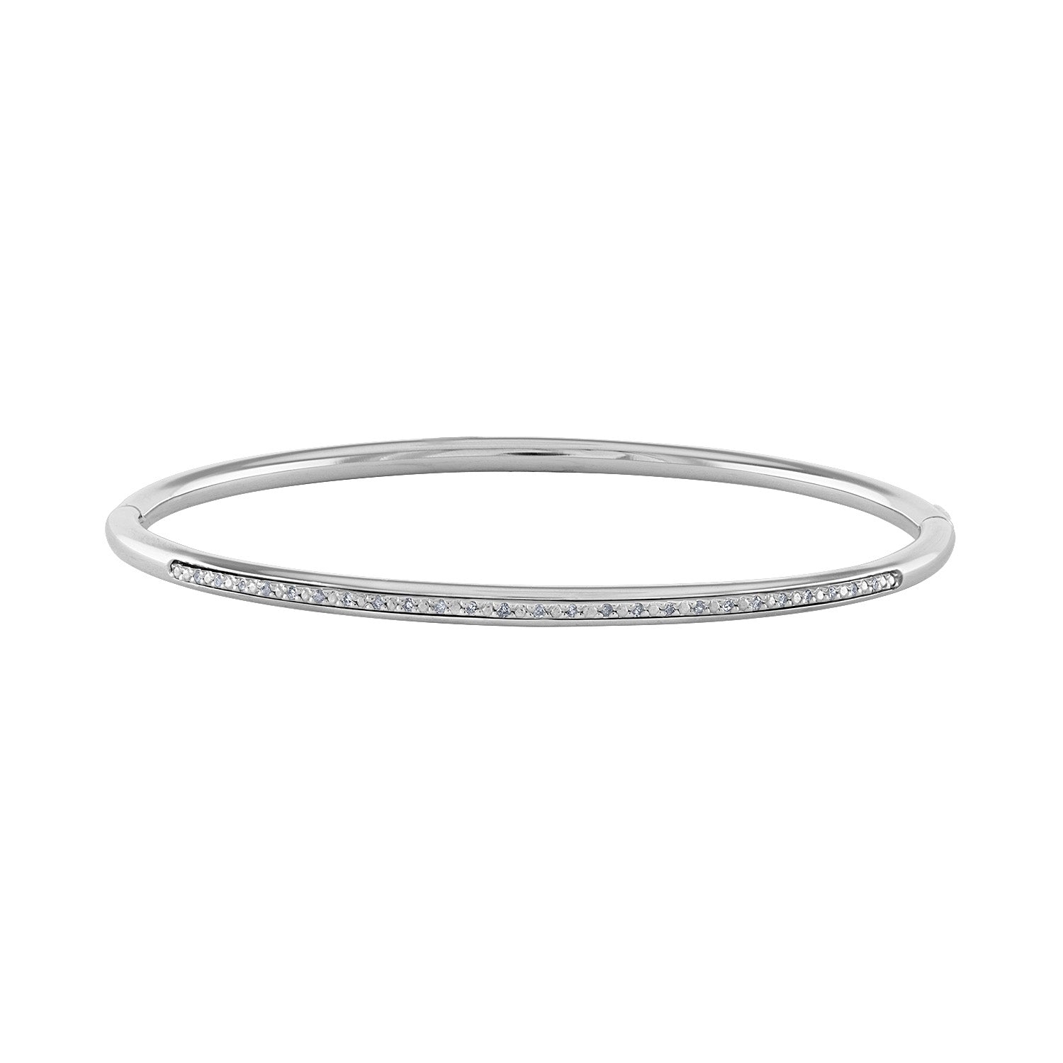 14k White Sterling Silver diamond  bangle