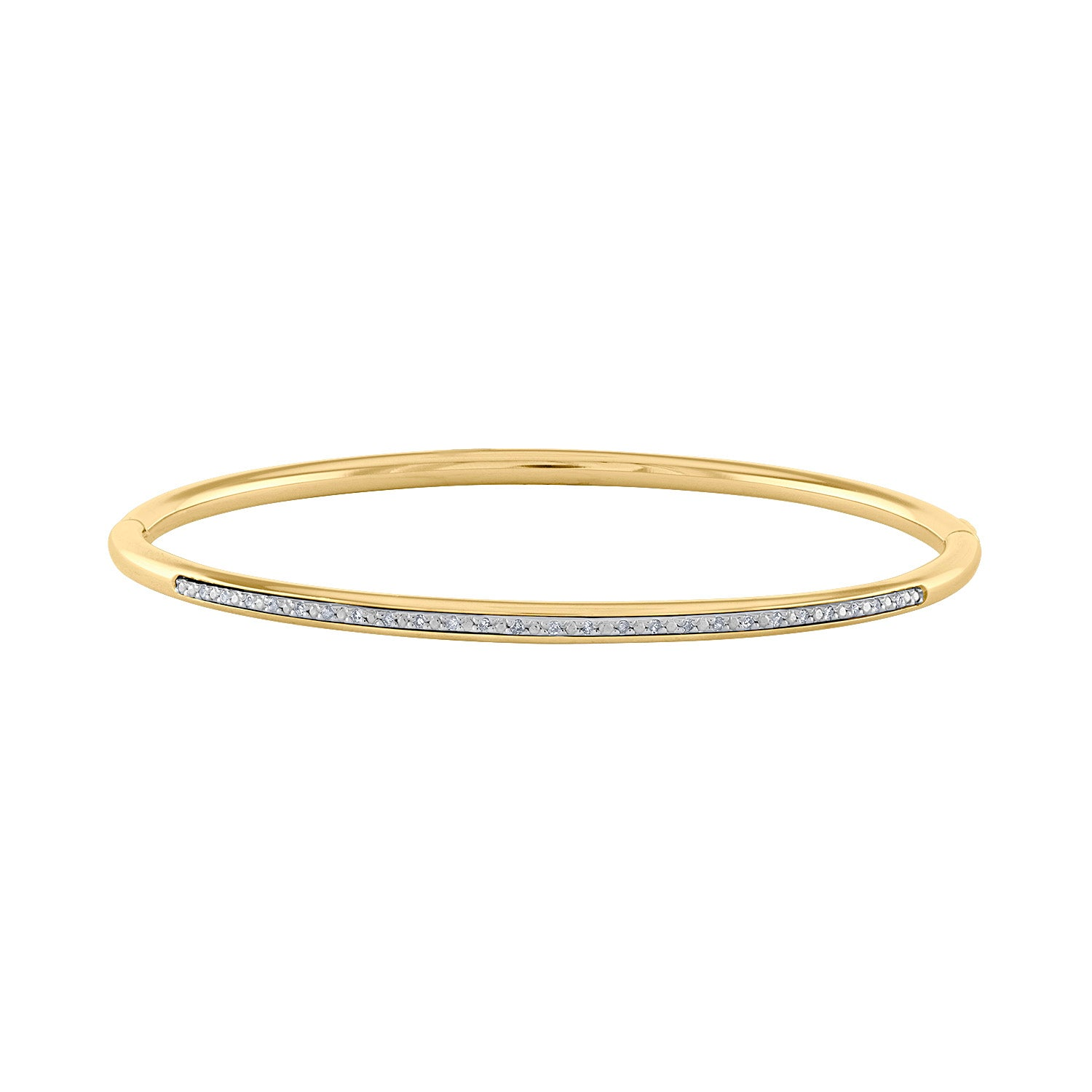 14k Yellow Sterling Silver diamond  bangle