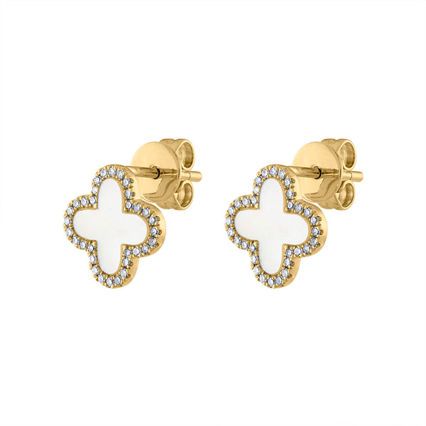 14KT GOLD DIAMOND AND MOTHER OF PEARL CLOVER EARRING